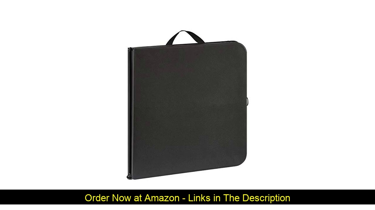 """⚡️ Mainstays 40"""" Sturdy Frame Centerfold Folding Table (Rich Black) + Free Cleaning Cloth"""