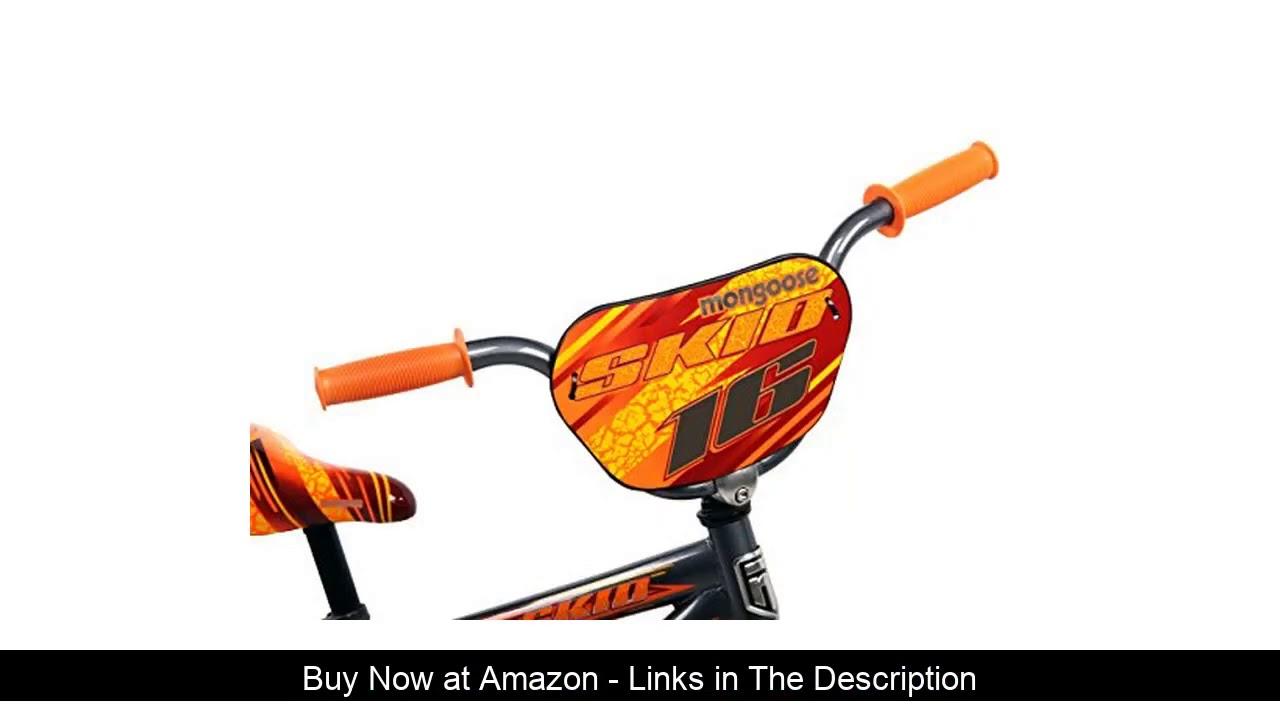 ☀️ Mongoose Skid Boy's Freestyle BMX Bike with Training Wheels, 16-Inch Wheels, Grey