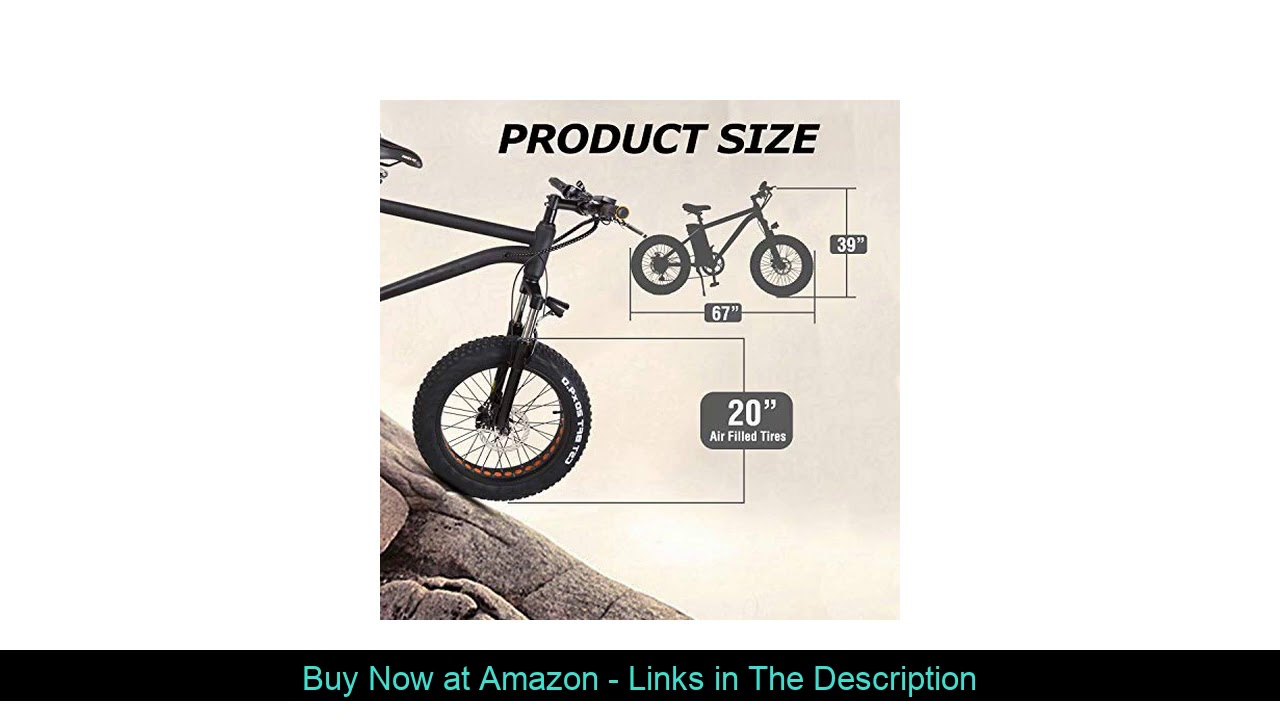 """✨ NAKTO 20"""" Electric Bike Fat Tire Mountain Ebike 300W Electric Bicycle with 36V10A Lithium Battery"""