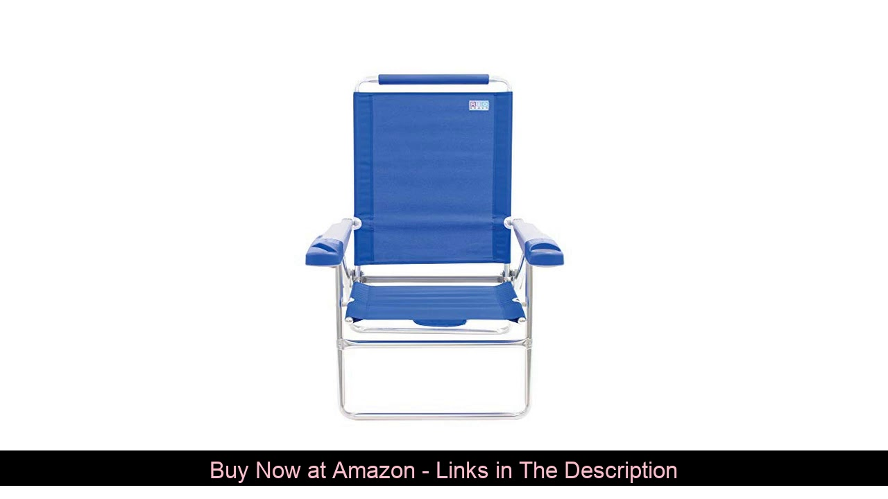 "☑️ Rio Beach 15"" Extended Height 4 Position Folding Beach Chair - Light Blue"
