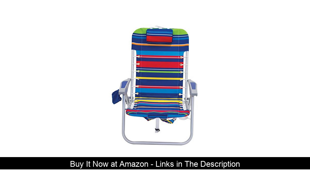 ⚡️ Rio Brands 4-Position Backpack Lace-Up Suspension Folding Beach Chair, Multi Stripe