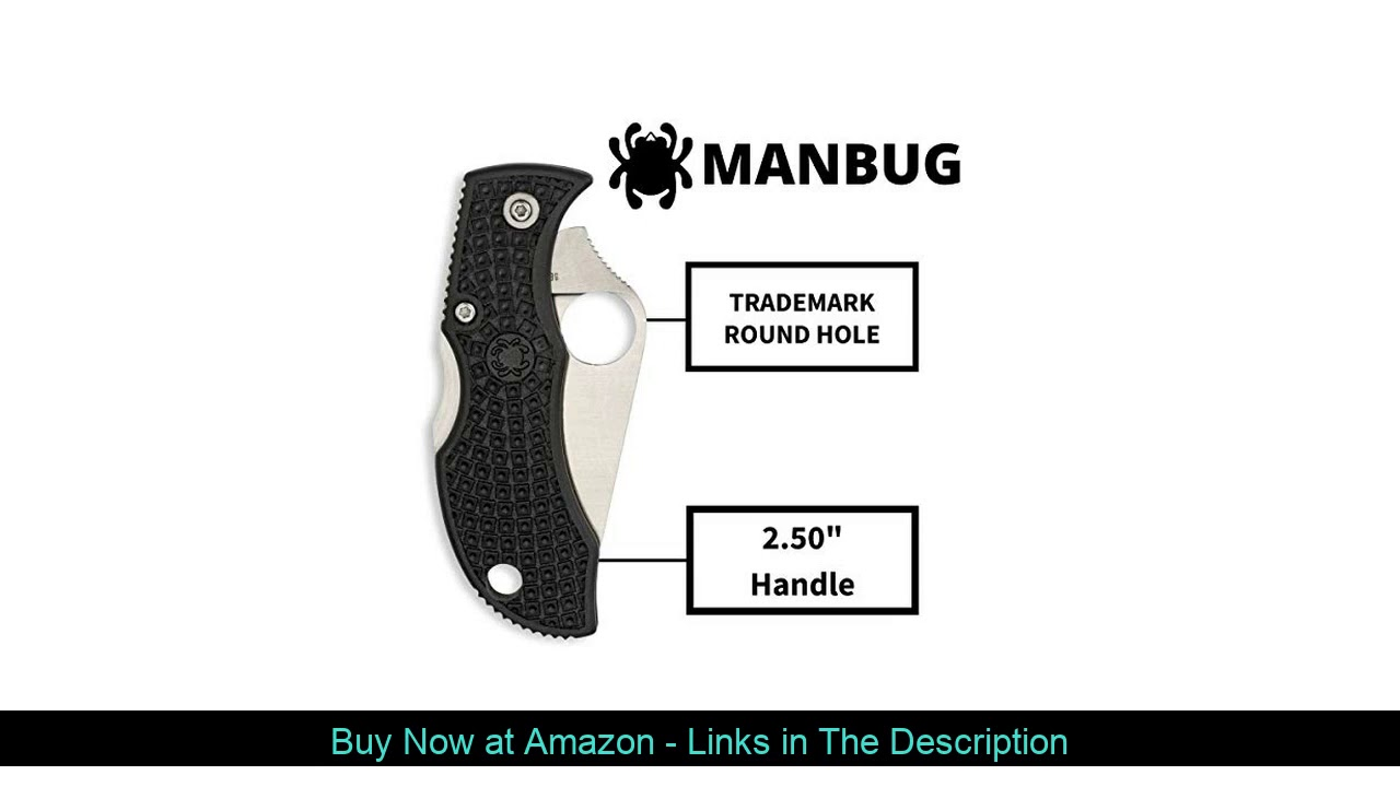 """❄️ Spyderco Manbug Lightweight Folding Knife with 1.97"""" VG-10 Stainless Steel Blade and High-Streng"""