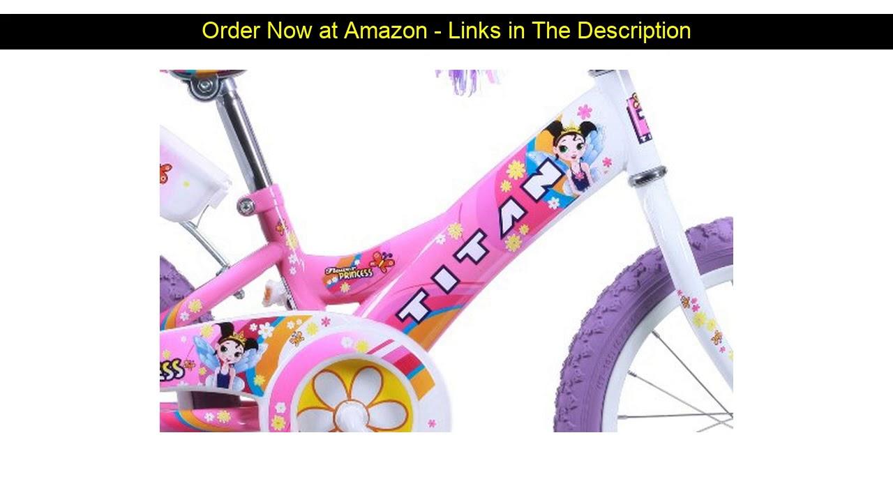 ❄️ Titan Girl's Flower Princess BMX Bike, Pink, 16-Inch