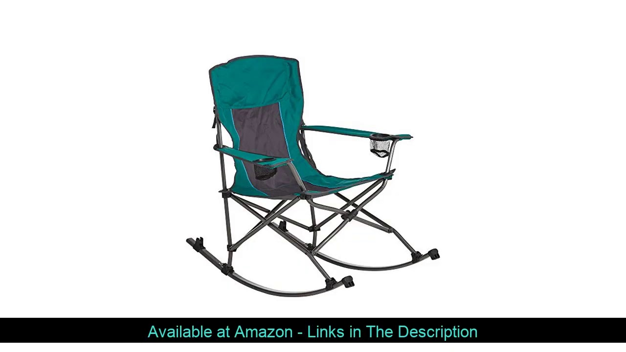 ☑️ Westfield Outdoor Folding Camp Rocking Chair — 300-Lb. Capacity, Green/Black